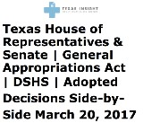 DSHS House Senate Adopted Comparisons