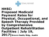 HHSC: Proposed Medicaid Payment Rates for Physical, Occupational, and Speech Therapy